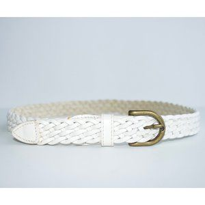 Vintage Braided White Leather Belt